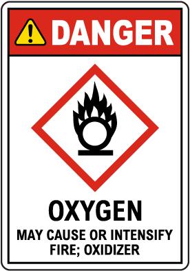 Danger Oxygen Fire Oxidizer GHS Sign