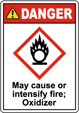 Danger May Cause Or Intensify Fire GHS Sign