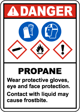 Danger Propane Flammable Gas PPE GHS Sign