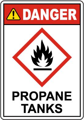 Danger Propane Tanks GHS Sign