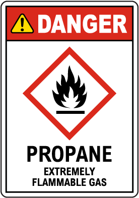 Danger Propane Extremely Flammable Gas GHS Sign