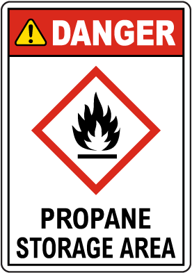 Danger Propane Storage Area GHS Sign
