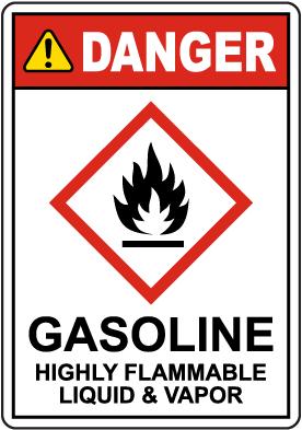 Danger Gasoline Highly Flammable Liquid & Vapor GHS Sign