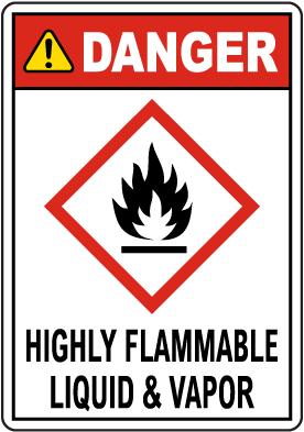 Danger Highly Flammable Liquid & Vapor GHS Sign