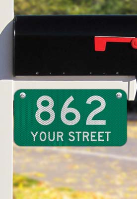 Green Horizontal 911 Address Sign with Street Name