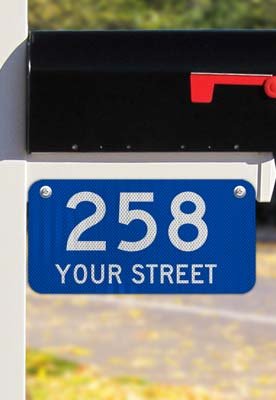 Blue Horizontal 911 Address Sign with Street Name