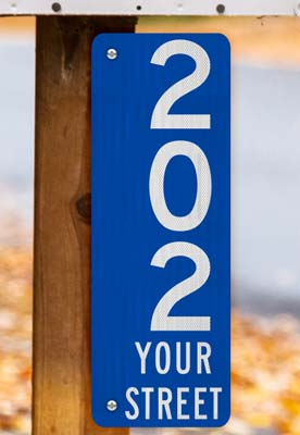 Blue Vertical 911 Address Sign with Street Name