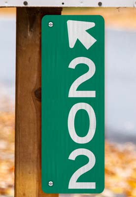 Green Vertical 911 Address Sign with Arrow