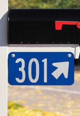 Blue Horizontal 911 Address Sign with Arrow