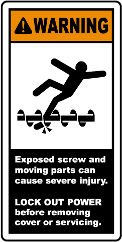 Exposed Screw & Moving Parts Label
