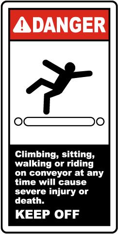 Danger Keep Off Conveyor Label