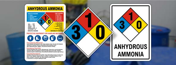 NFPA 704 Ammonia Signs