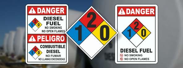 NFPA 704 Diesel Fuel Signs