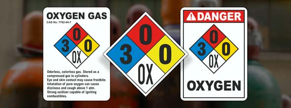 NFPA 704 Oxygen Signs