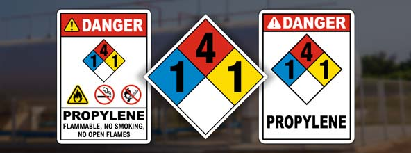 NFPA 704 Propylene Signs