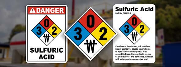 NFPA 704 Sulfuric Acid Signs