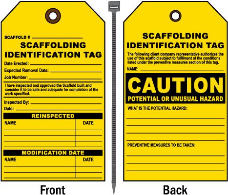 Potential or Unusual Hazard Scaffold Tag