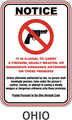 Ohio No Firearms on Premises Sign