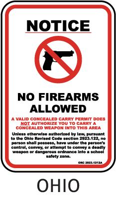 Ohio School Zone No Firearms Allowed Sign