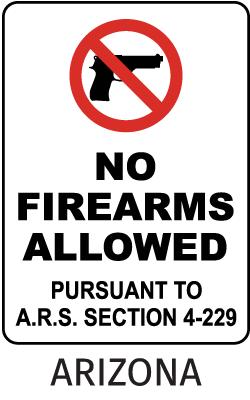 Arizona No Firearms Allowed Sign