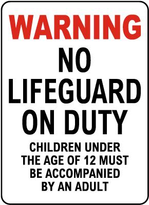 Iowa No Lifeguard on Duty Sign