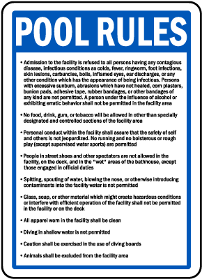 Kentucky Pool Rules Sign