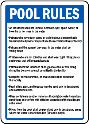 West Virginia Pool Rules Sign
