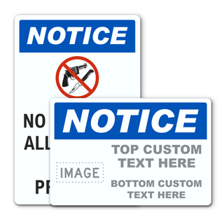 Custom Notice No Guns Sign