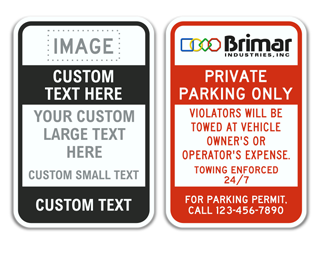 Custom Parking Sign with Image Upload