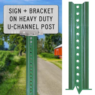 Heavy-duty Green Sign Post – Sign + Bracket Mounting