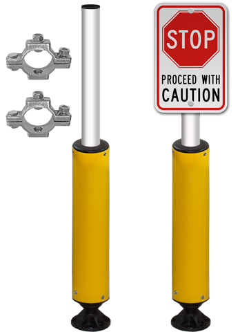 "78"" Tall Fixed Base Impact Recovery Sign Post"