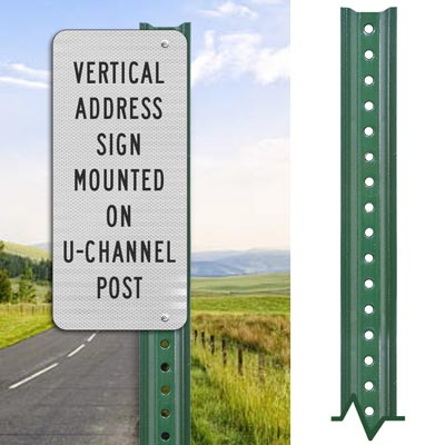 Lightweight  Green Sign Post - Direct Sign Mounting