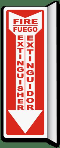 Bilingual 2-Way Fire Extinguisher Sign