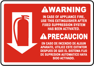Bilingual Warning In Case of Appliance Fire Sign