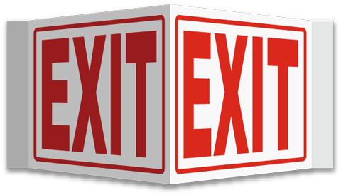 Exit 3-Way Sign