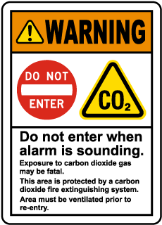 Warning CO2 Do Not Enter When Alarm Sounds Sign