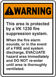 Warning Protected By VK 1230 System Sign
