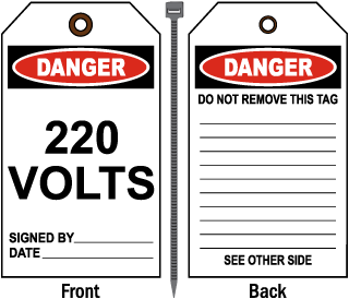 Danger 220 Volts Tag
