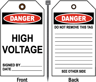 Danger High Voltage Tag