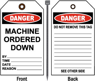 Danger Machine Ordered Down Tag