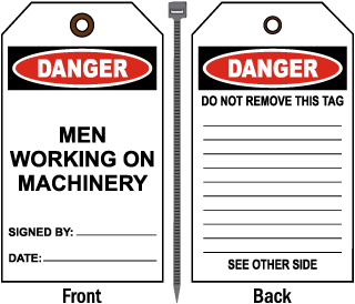 Danger Men Working on Machinery Tag