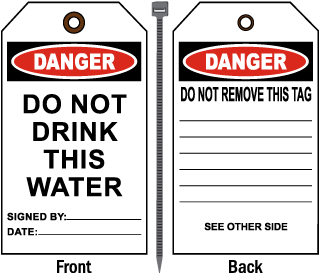 Danger Do Not Drink This Water Tag