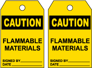 Caution Flammable Materials Tag