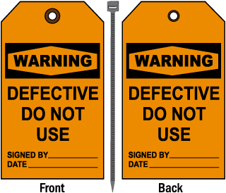 Warning Defective Do Not Use Tag