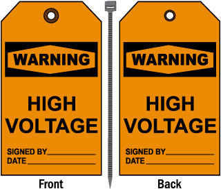 Warning High Voltage Tag
