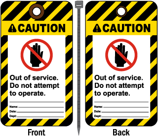 Caution Out Of Service Tag