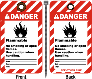 Danger Flammable No Smoking Tag