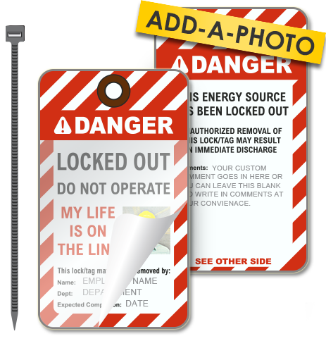 Custom Locked Out Photo Lockout Tag (Package of 25 tags + ties)