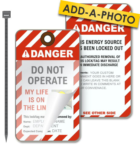 Custom Do Not Operate Photo Lockout Tag (Package of 25 tags + ties)