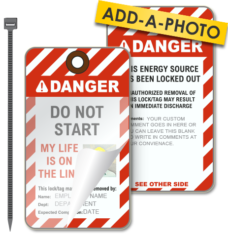 Custom Do Not Start Photo Lockout Tag (Package of 25 tags + ties)